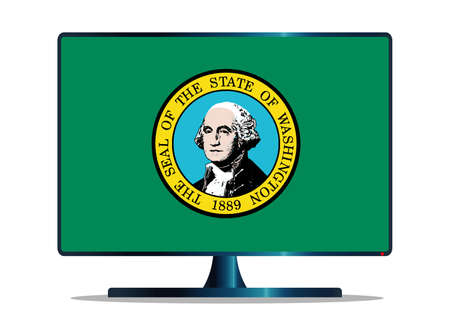 A TV or computer screen with the Washington state flag