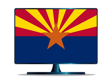 window display: A TV or computer screen with the Arizona state flag Illustration