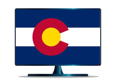 colorado state: A TV or computer screen with the Colorado state flag Illustration