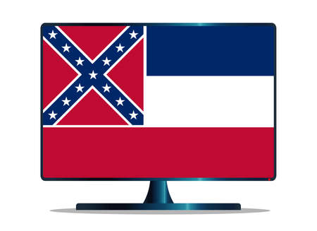 window display: A TV or computer screen with the Mississippi state flag Illustration