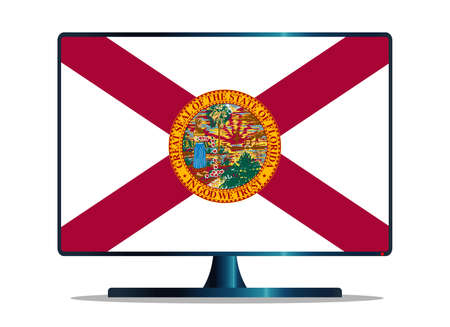 florida state: A TV or computer screen with the Florida state flag