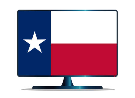texas state flag: A TV or computer screen with the Texas state flag Illustration