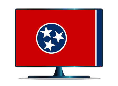 window display: A TV or computer screen with the Tennessee state flag Illustration