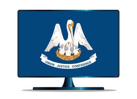 A TV or computer screen with the Louisiana state flag