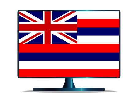 window display: A TV or computer screen with the Hawaii state flag Illustration