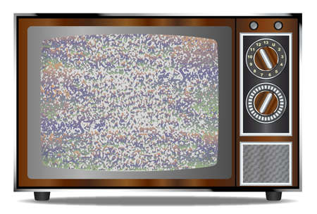 analogue: An old wood surround television receiver over a white background with a static screen