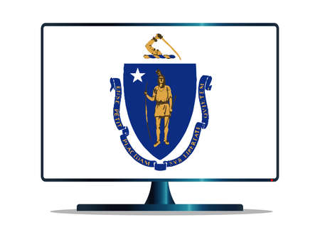 massachusetts: A TV or computer screen with the Massachusetts state flag