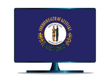 window display: A TV or computer screen with the Kentucky state flag