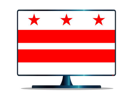 window display: A TV or computer screen with the Washington DC state flag