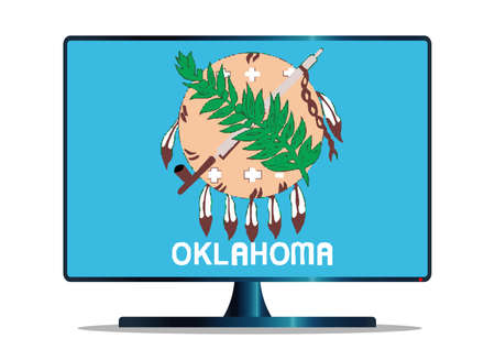 A TV or computer screen with the Oklahoma state flag Illustration