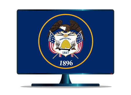 copy machine: A TV or computer screen with the Utah state flag