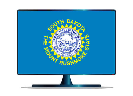window display: A TV or computer screen with the South Dakota state flag Illustration