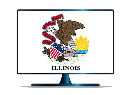 space television: A TV or computer screen with the Illinois state flag