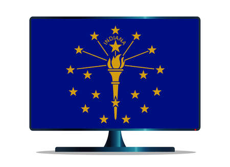 window display: A TV or computer screen with the Indiana state flag Illustration