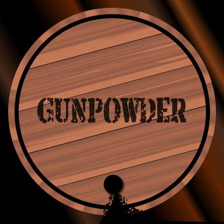 bung: A keg of gunpowder with the name branded Illustration