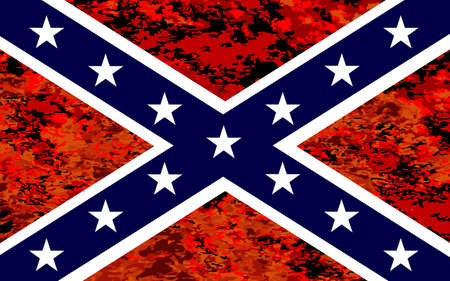 The flag of the confederates during the American Civil War with fire background Illustration