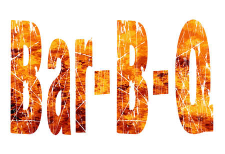 b: The text Bar B Q set over a roaring flames background Illustration