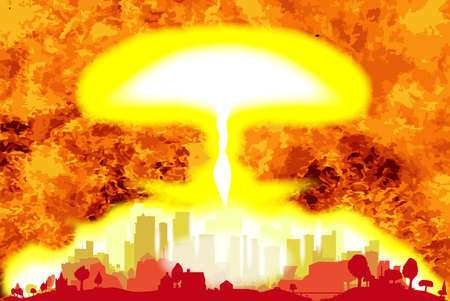 A hydrogen bomb blast in a modern city with a flames background