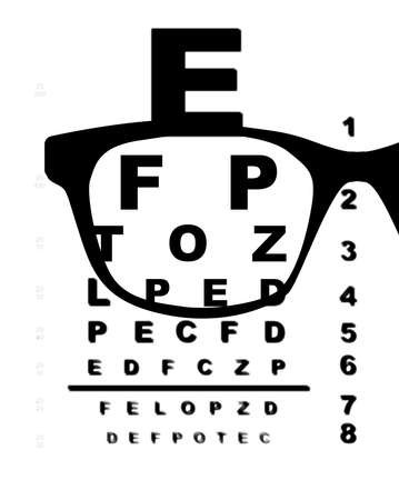 blurr: A typical opticians eye test chart over a white background with blurr and glasses