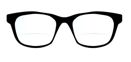 pair of glasses: A pair of black frames optic glasses of a white background