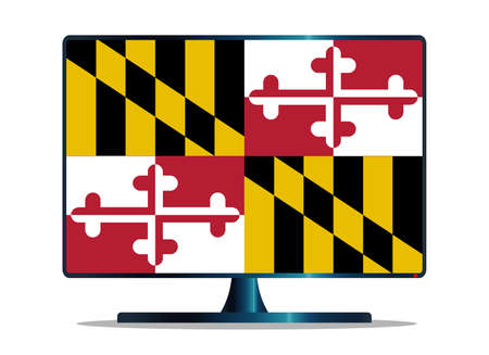 space television: A TV or computer screen with the Maryland state flag Illustration