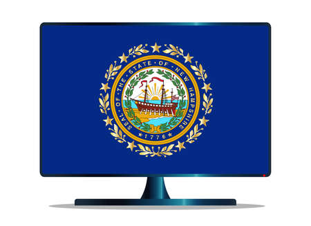 display machine: A TV or computer screen with the New Hampshire state flag
