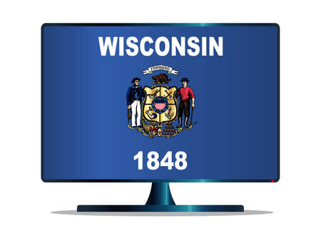 space television: A TV or computer screen with the Wisconsin state flag