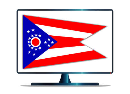 copy machine: A TV or computer screen with the Ohio state flag