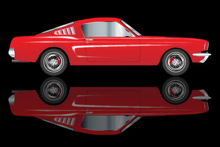 An American big V8 muscle car with reflection over a black background