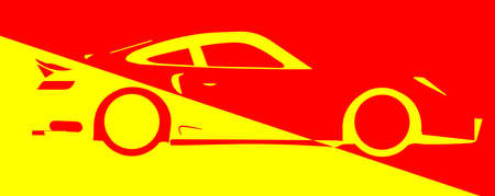accelerating: A fast car in abstract design over red and yellow