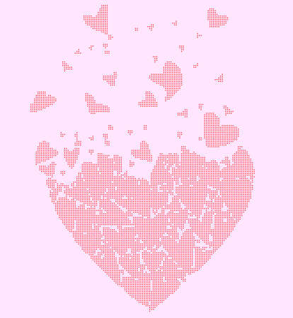 several: A large heart made up of several smaller halftone hearts flying away against a pink background