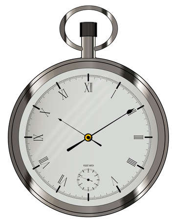 fob: An old fashioned fob style silver pocket watch