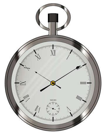 Un reloj de bolsillo de plata de estilo antiguo fob Ilustración de vector