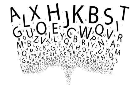 Een uitloop van willekeurige letters op een witte achtergrond