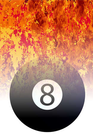 furnace: A roaring flames image background with faded eight ball