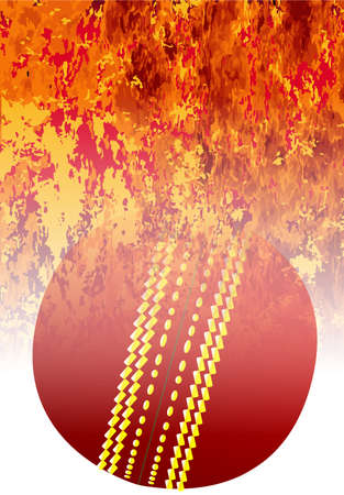A roaring flames image background with faded cricket ball