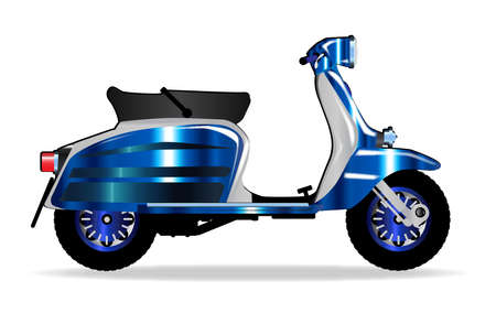 motor scooter: A typical 1960 style motor scooter over a white background