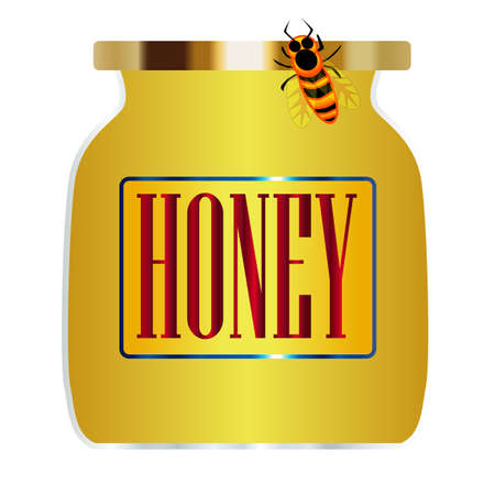 A jar of honey with a bee over a white background