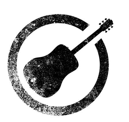 electrics: Acoustic guitar as as rubber ink stamp in black, isolated over a white background. Illustration