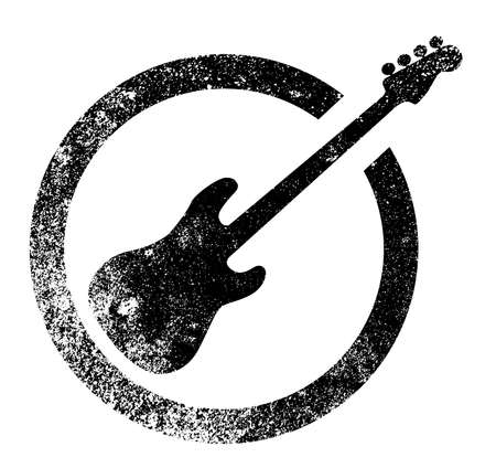 Bass guitar as as rubber ink stamp in black, isolated over a white background.