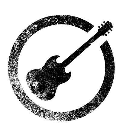 pickups: The standard rock and roll guitar as as rubber ink stamp in black, isolated over a white background.