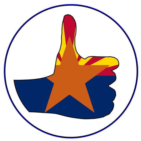 An Arizona Flag hand giving the thumbs up sign all over a white background Illustration
