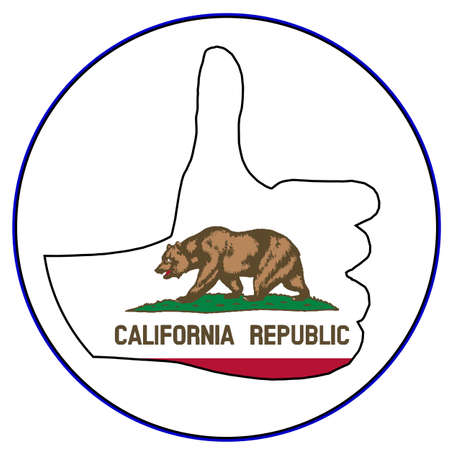 all right: A California Flag hand giving the thumbs up sign all over a white background