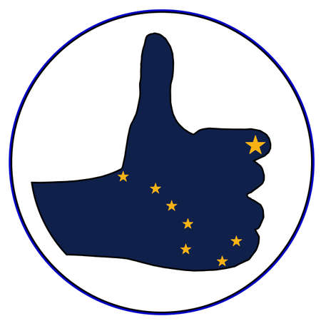 all right: An Alaska Flag hand giving the thumbs up sign all over a white background