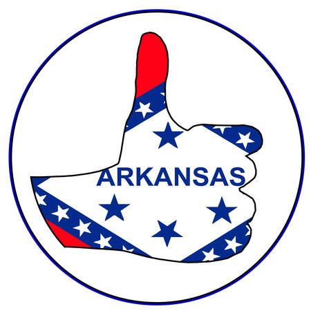 An Arkansas Flag hand giving the thumbs up sign all over a white background Illustration