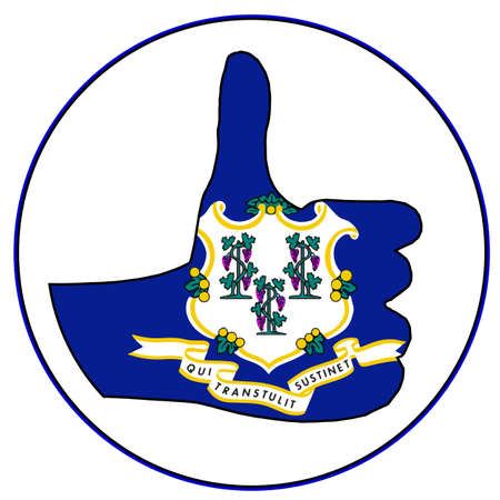 all right: Connecticut Flag hand giving the thumbs up sign all over a white background Illustration