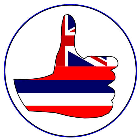 all right: Hawaii Flag hand giving the thumbs up sign all over a white background Illustration
