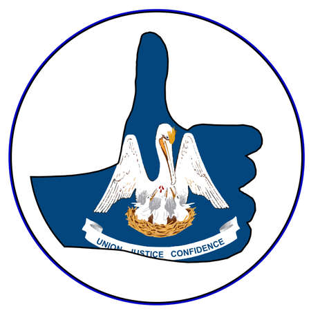 all right: Louisiana Flag hand giving the thumbs up sign all over a white background Illustration