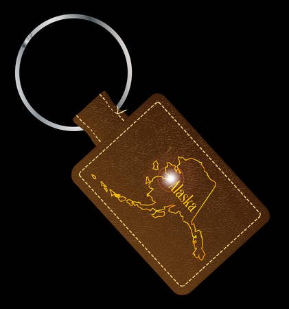 fob: A brown leather key fob and ring with the USA state of Alaska map outline Illustration