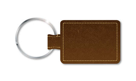 key fob: A brown leather key fob and ring over a white background